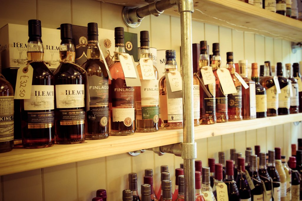 Bottles of whisky on a shelf