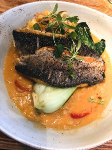 Sea bass with Thai red curry