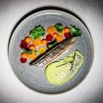 Cured torched mackerel dish