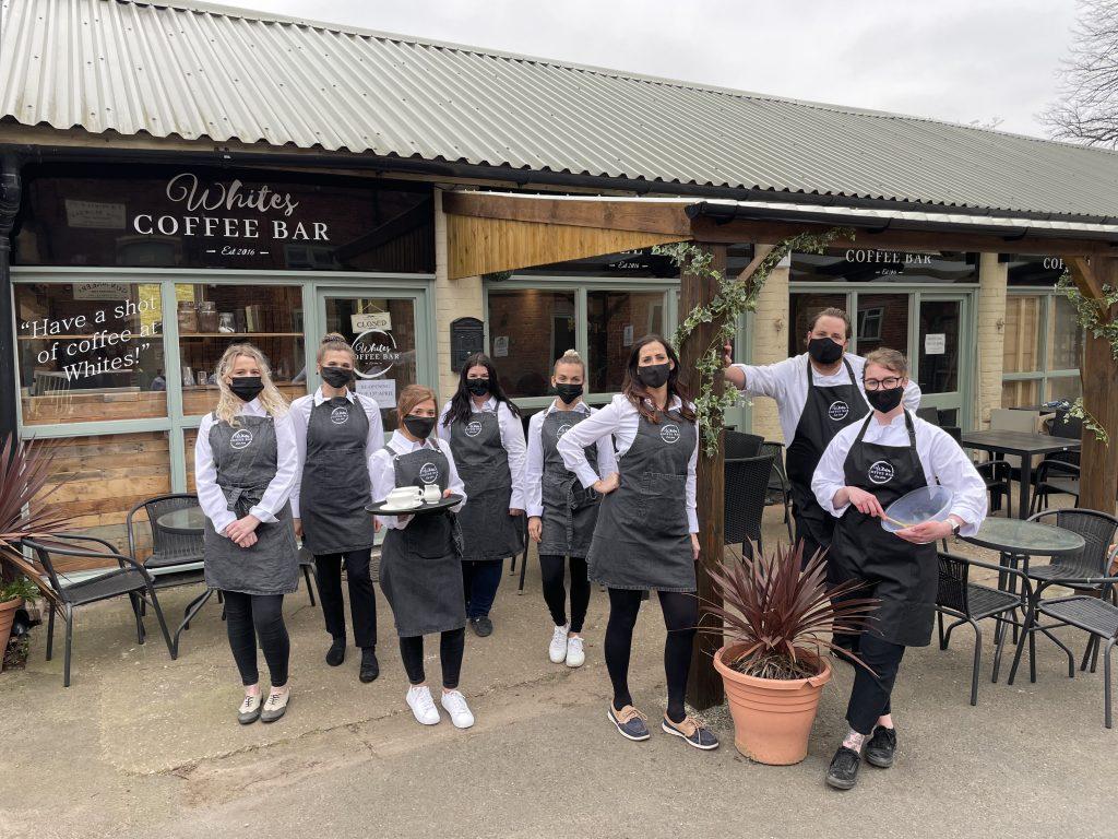 White's Coffee Bar team in masks